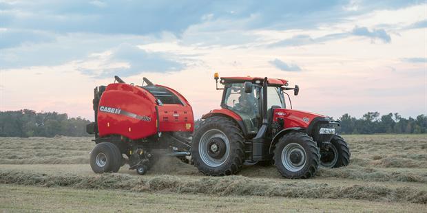 Case IH Maxxum 150 Tractor with Baler