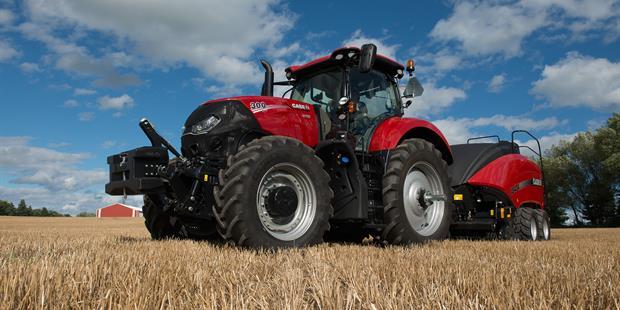 Case IH Optum 300 Tractor with Baler